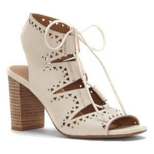Lucky Brand Sandshell Tafia Leather heeled sandal